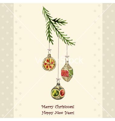 Christmas Watercolor Retro Postcard Vector Image On Christmas Watercolor Vintage Christmas Ornaments Christmas