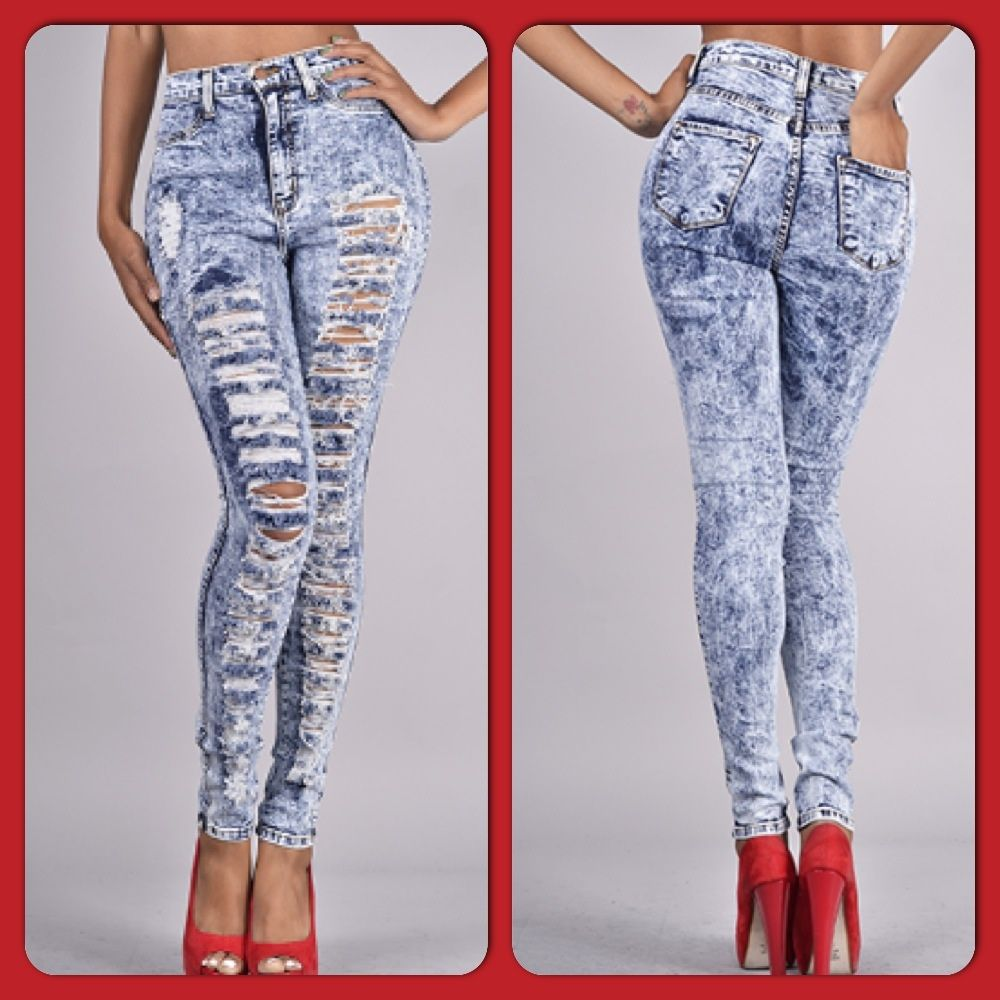 Distressed high waisted jeans light acid wash – Global fashion ...