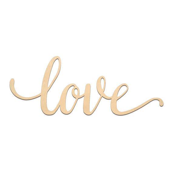 Love Script Word Wood Sign Wooden Words Sign Art Rustic Cursive