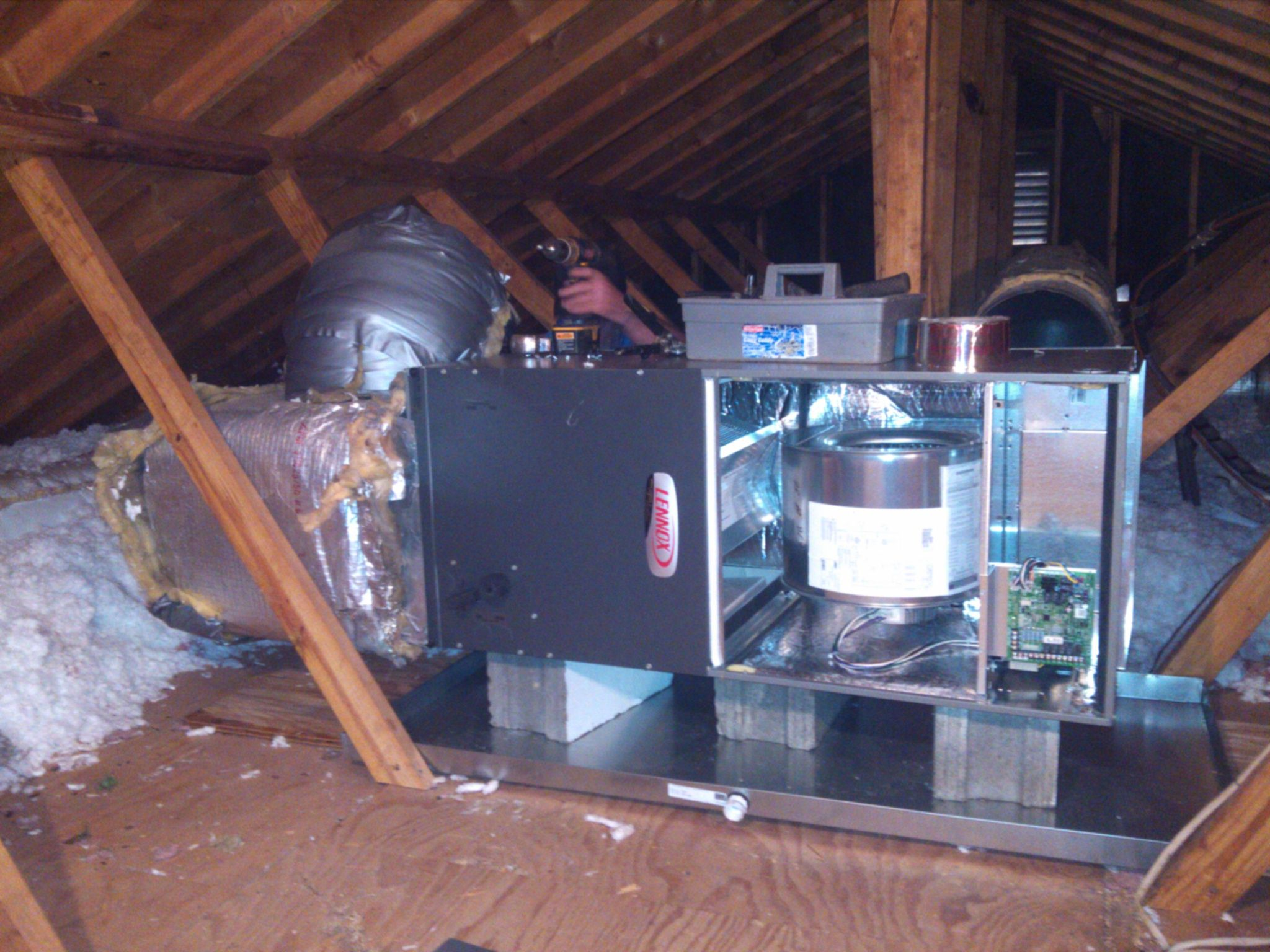 Attic installation of new Lennox Furnace; Greenville, SC