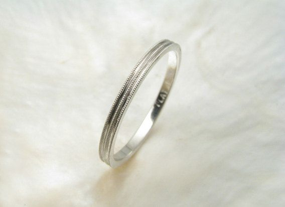 Delicate 1 5mm Platinum Wedding Ring With Milgrain