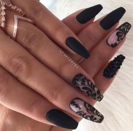 trendy nails art acrylic matte 55 ideas nails  black