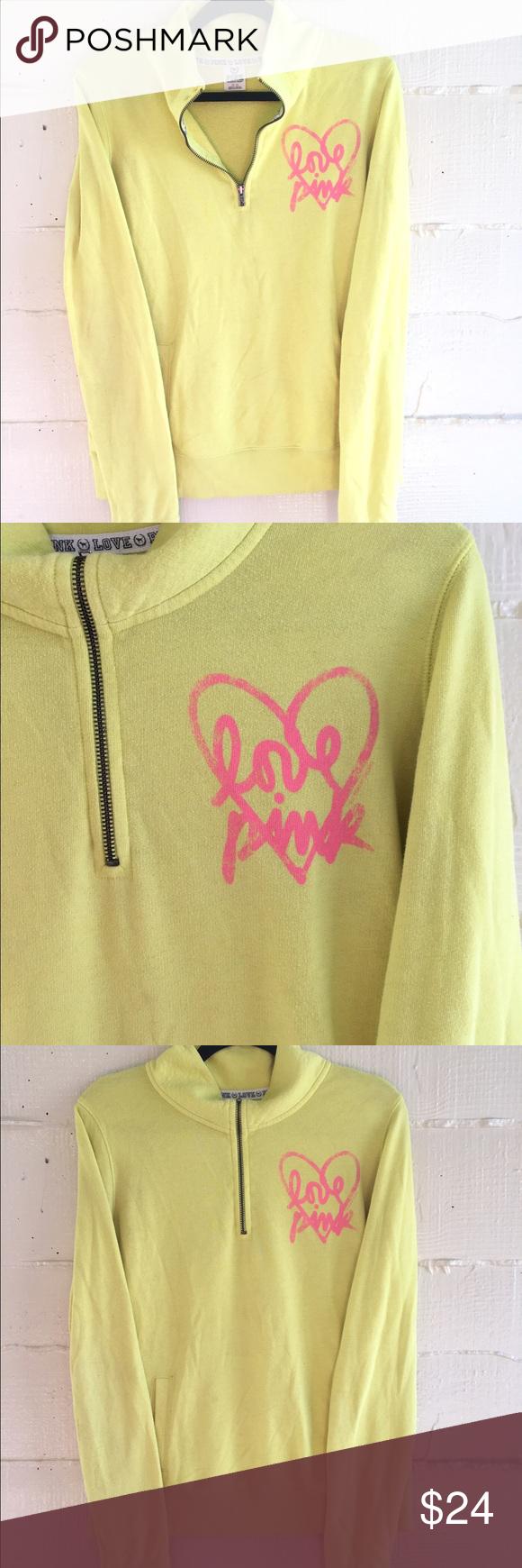 VS Pink Neon Yellow Sweater | Half zip sweaters, Zip sweater and ...