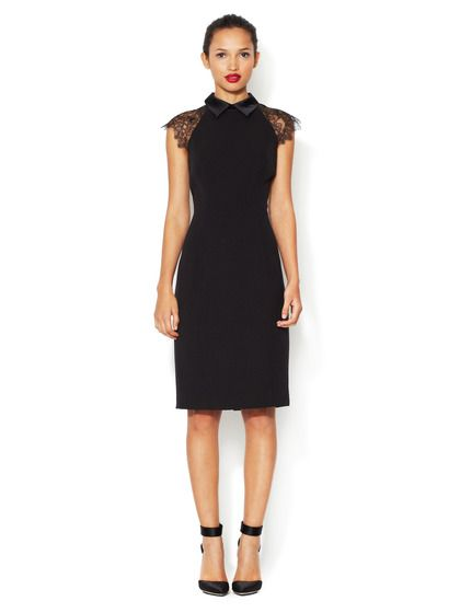 BADGLEY MISCHKA - Crepe Sheath Dress with Lace Trim