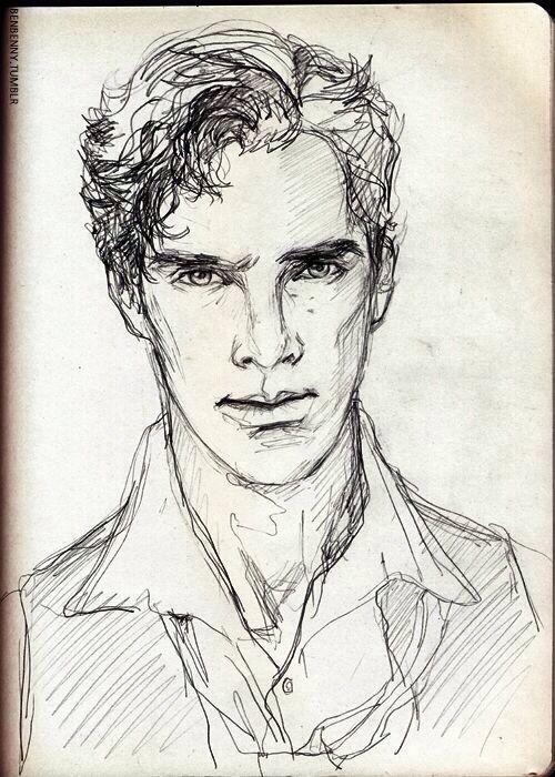 Drawing Scribble Face : Sketch of benedict cumberbatch tumblr Рисунки