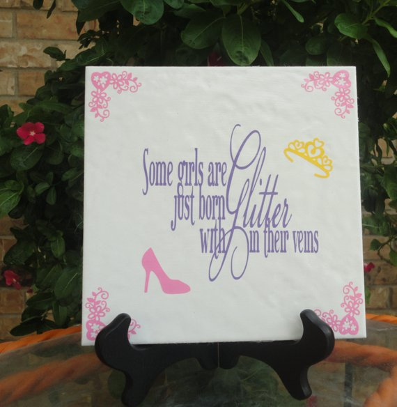 Tiles With Sayings Words Decorative Gifts For S Pink Personalized Vinyl O