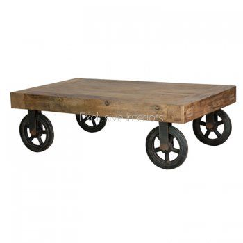 Industrial Living Trolley Style Coffee Table With Metal Wheels And Rustic  Wooden Finish
