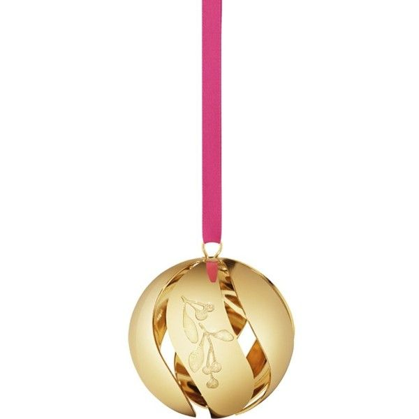 GEORG JENSEN Christmas Collectibles gold plated ball ornament featuring polyvore, home, home decor, holiday decorations, christmas home decor, xmas ball ornaments, gold plated christmas ornaments, round christmas ornaments and christmas holiday decor