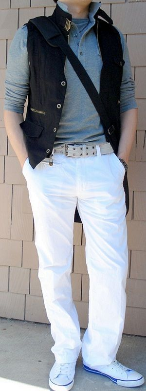 black-vest-black-messenger-bag-gray-polo-white-pants-white-shoes ...