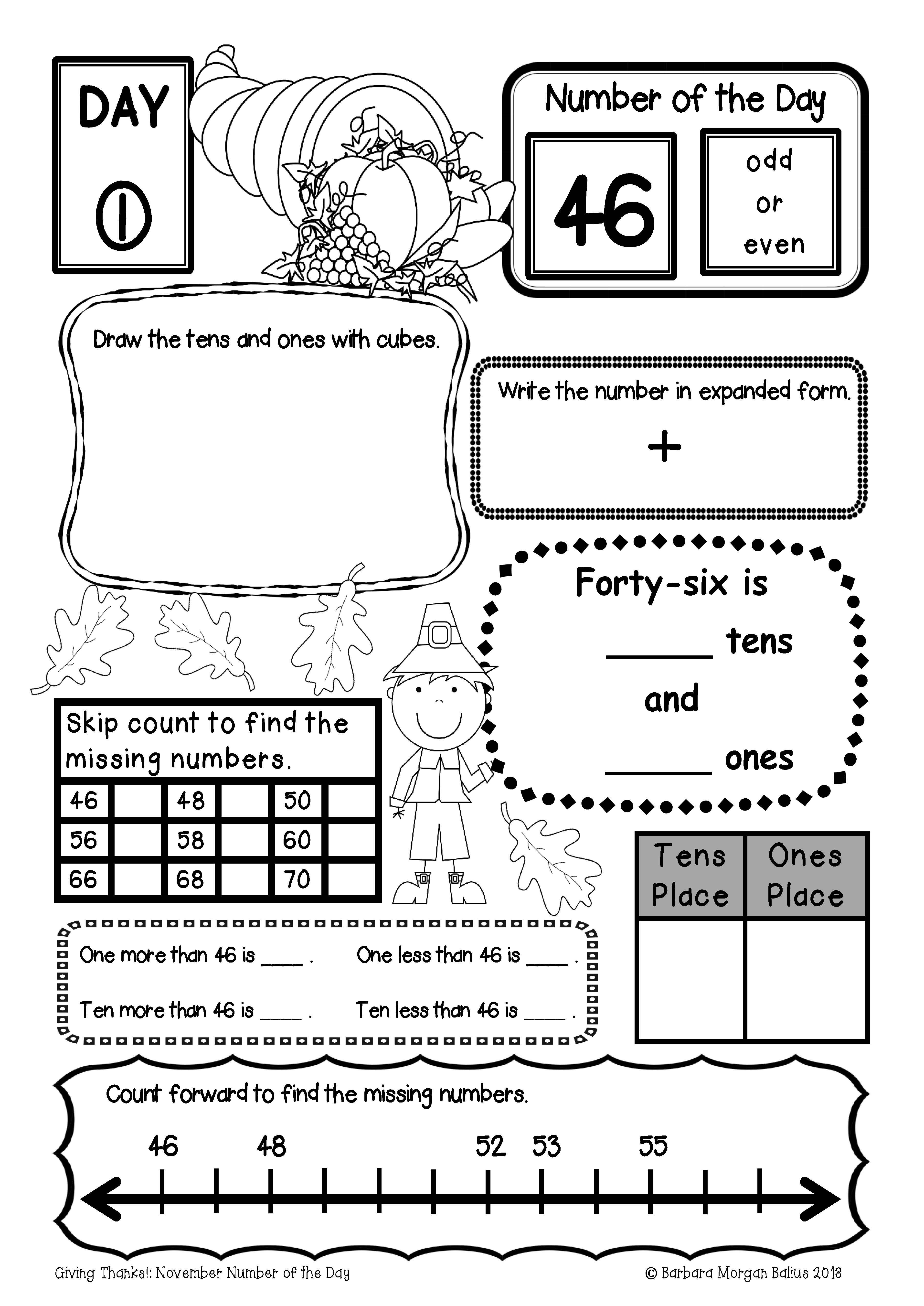 Great Thanksgiving Number Practice All Students Need Daily Practice Working With Numbers To Effectively Dev Calendar Math Homeschool Learning Math Printables [ 5346 x 3783 Pixel ]