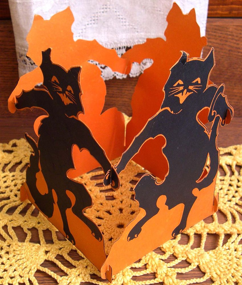 SCARCE Vintage Halloween Dancing Cat Centerpiece, Gibson Art Co ...