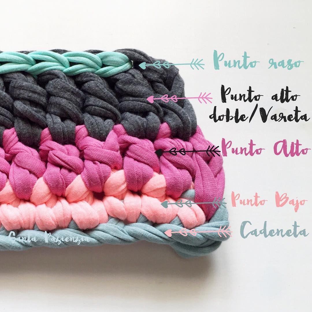 Estos puntos b sicos de crochet son algunos de los que te - Puntos crochet trapillo ...