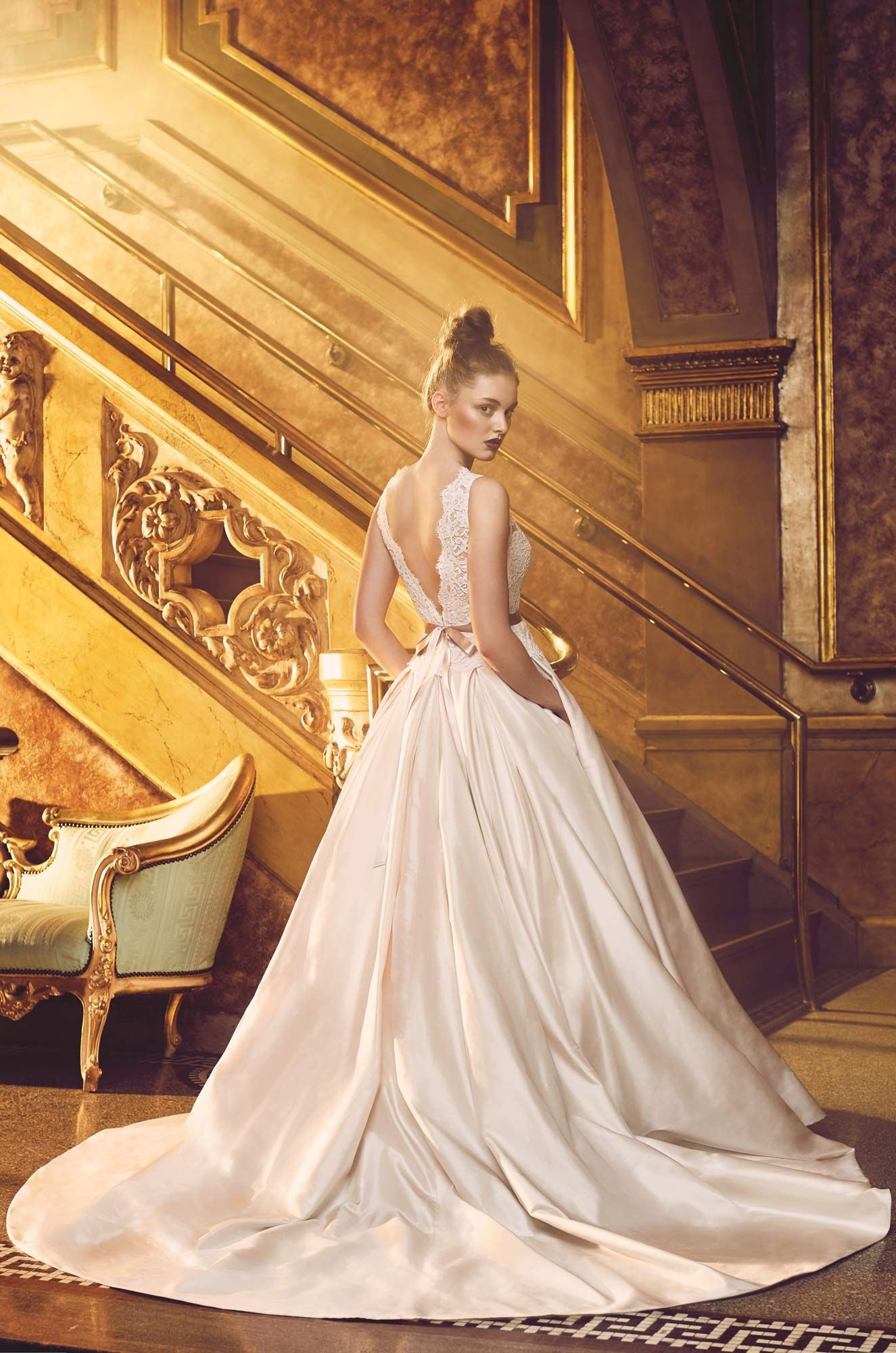 Silk ball gown wedding dress style box pleats lace bodice