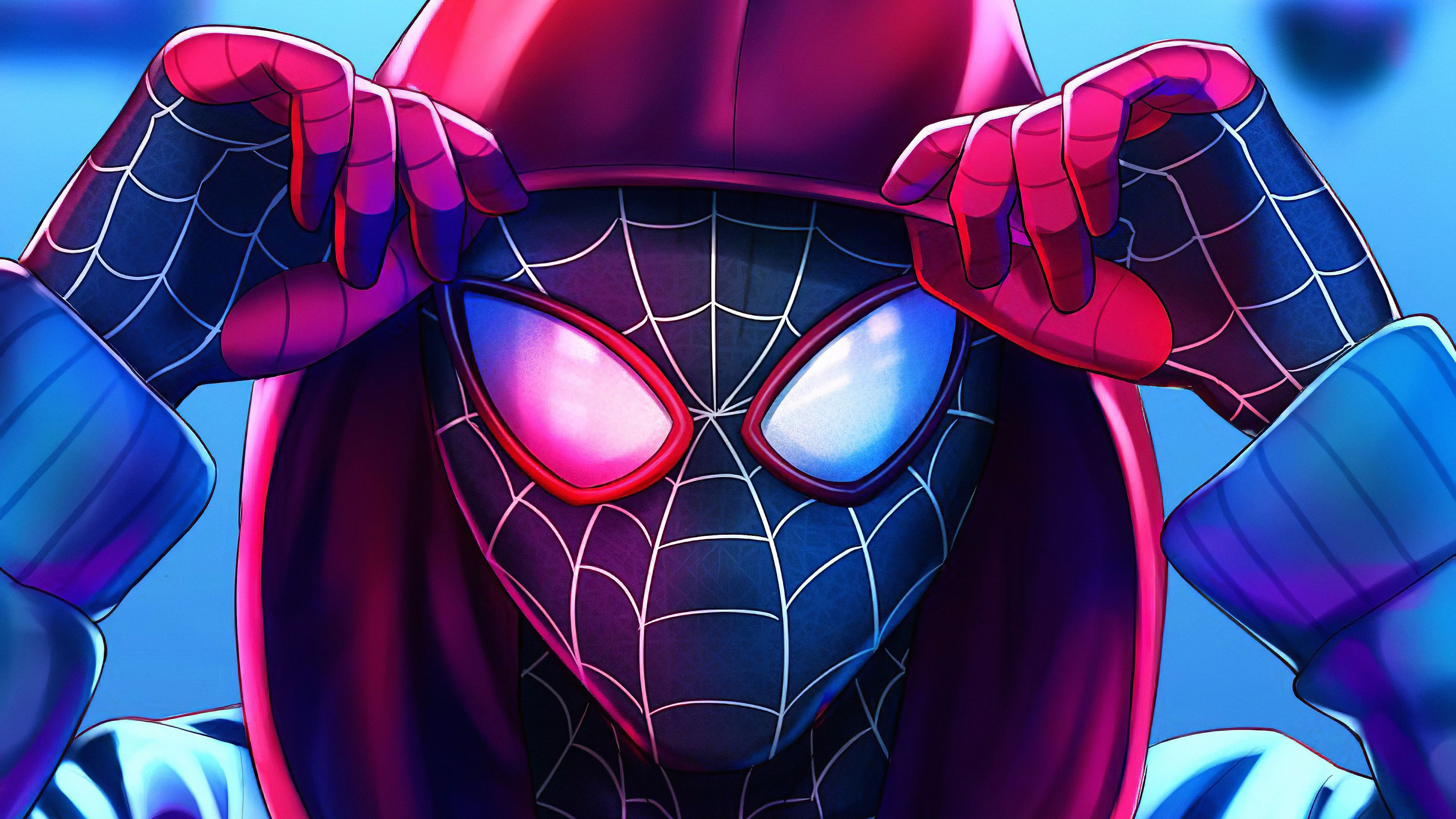 Spiderman Miles Hoodie Up Spiderman Wallpaper Phone Hd 4k Spiderman Wallpaper 4k Hd Spiderman Art Wallpaper Hd 4k Spid Spiderman Spiderman Art Avengers Team