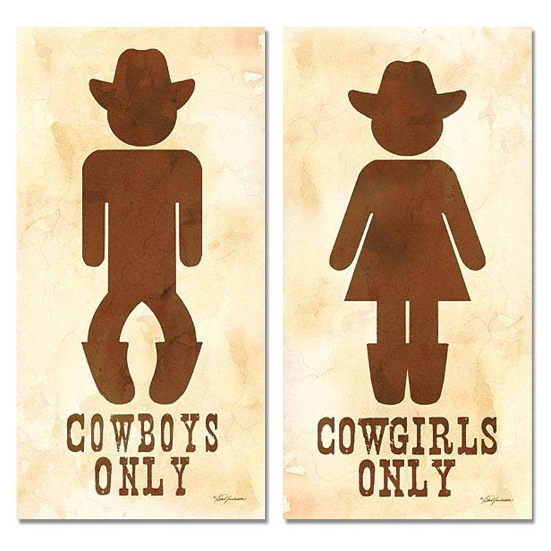 Two Cowboy And Cowgirl His Hers Bathroom Sign Posters 8x16
