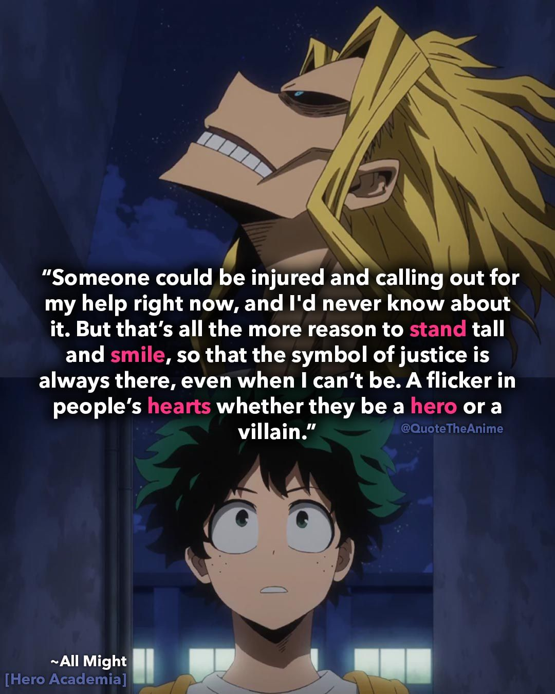 13 Powerful All Might Quotes My Hero Academia Images Hero Quotes Anime Quotes Inspirational My Smile Quotes