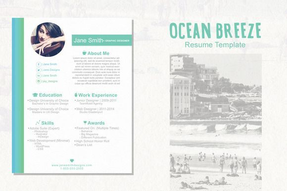 cool Ocean Breeze Resume CreativeWork247 - Fonts, Graphics, Themes