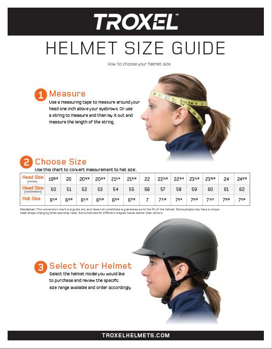Troxel Helmet Size Guide Troxel Helmets Helmet English Riding