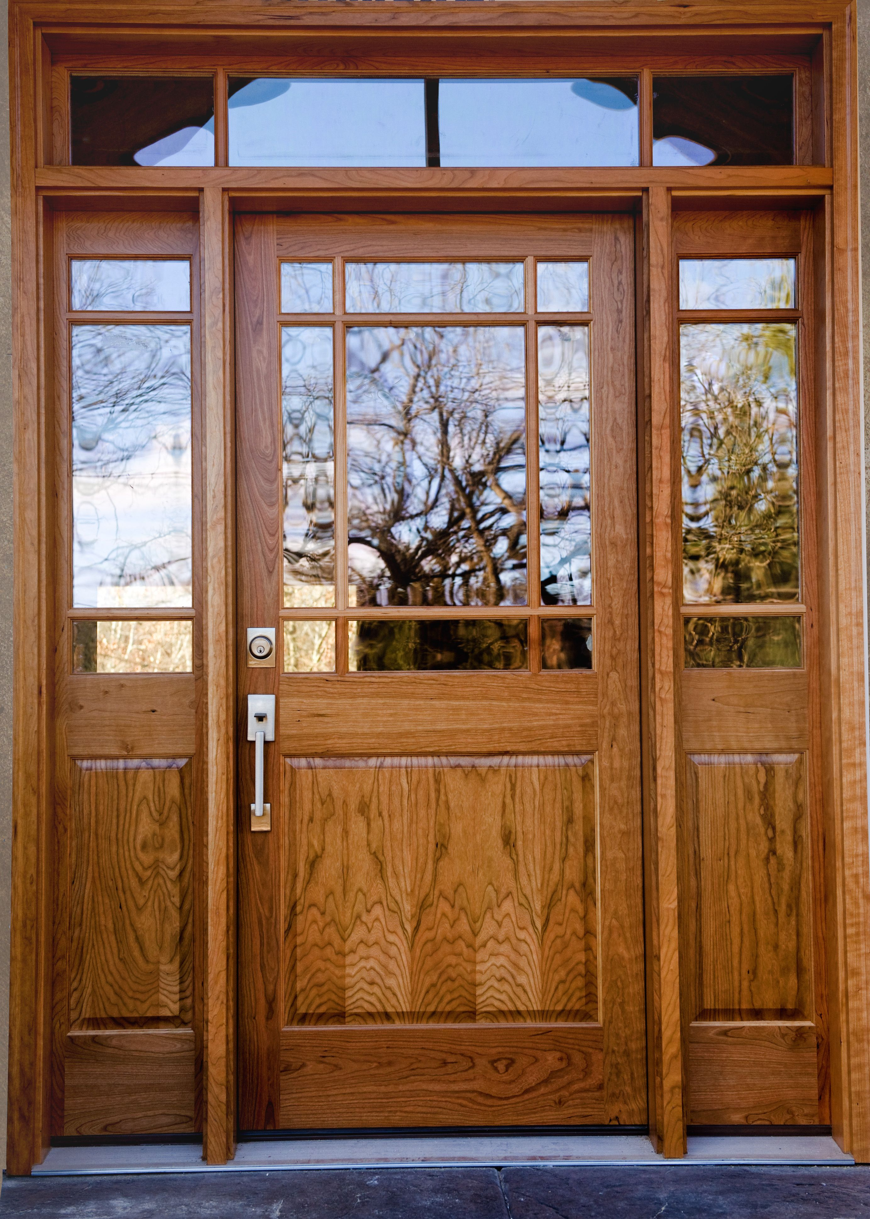 Cherry Wood Entry Door Clear Glass Natural Finish Front Entry