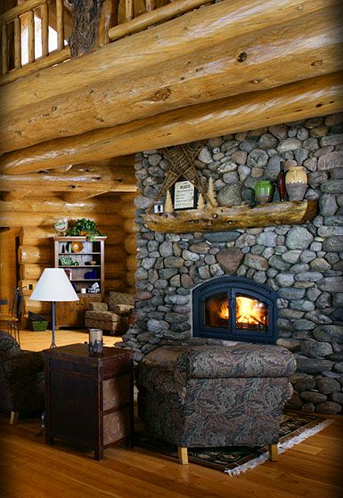 Log House With Rock Fireplace Please Log Homes Log Cabin
