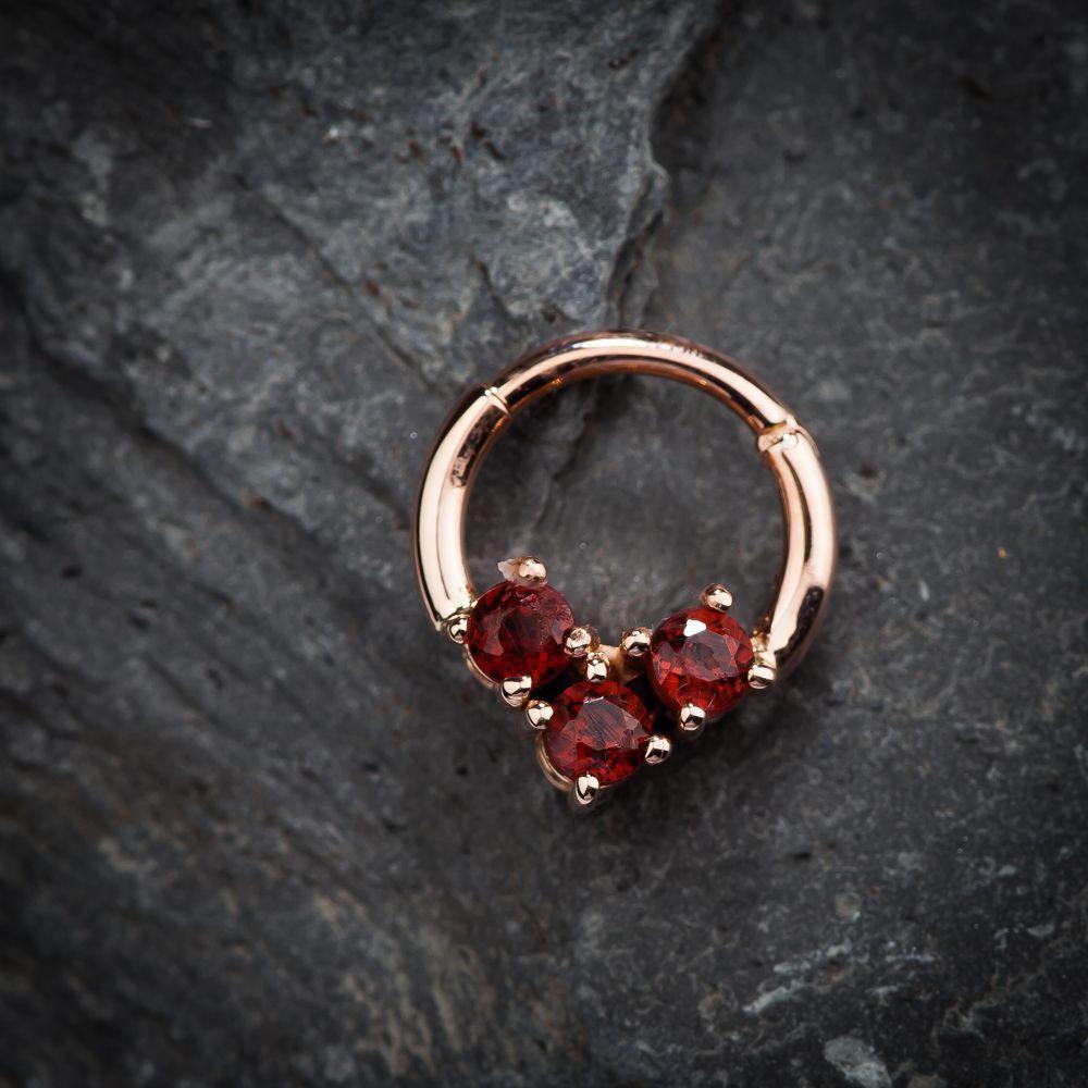 Faux Garnet 14k Gold Hinged Segment Clicker Ring Septum Jewelry