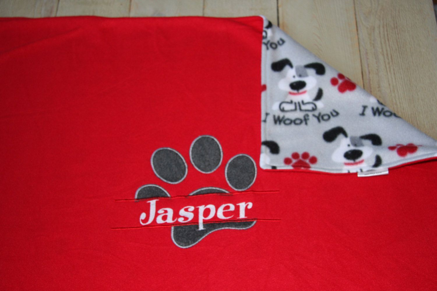 7752b9e506 REVERSIBLE Personalized Pet Blanket Dog Blanket Fleece Custom Puppy  Embroidered Dog Blanket with Dog Name WOOF Made to Order by  RedBobbinDesigns on Etsy