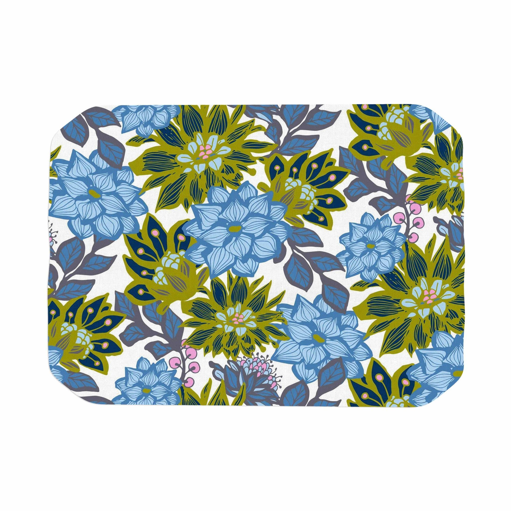 "Amy Reber ""Blue Dahlias"" Green Floral Place Mat"