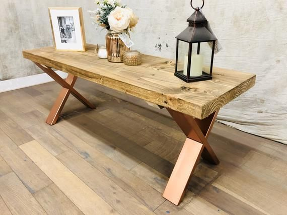 Copper Reclaimed Coffee Table X Industrial Hairpin Legs Solid Wood
