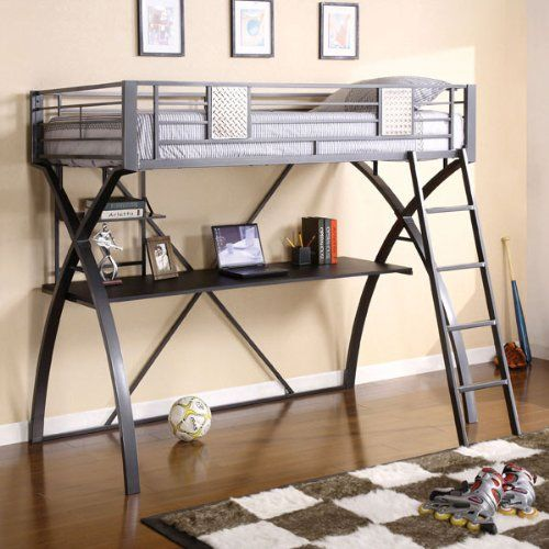 Apollo Twin Size Metal Finish Loft Bed w/ Workstation