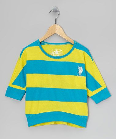 Take a look at this Yellow & Blue Stripe Dolman Sleeve Top by U.S. Polo Assn. on #zulily today!
