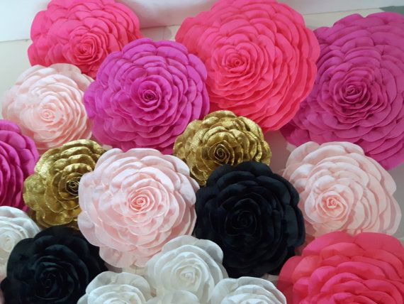 Large Paper Flowers Giant Pink Gold Bridal By Babyshowerflowers