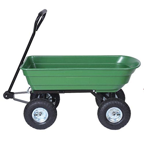 Heavy Duty Large Capacity Dump Carts Yard Cart Dumper Utility Yard Lawn Wagon Carrier Wheel Barrow Pneumatic Tires Garden T Wheelbarrow Yard Cart Carrier Wheel