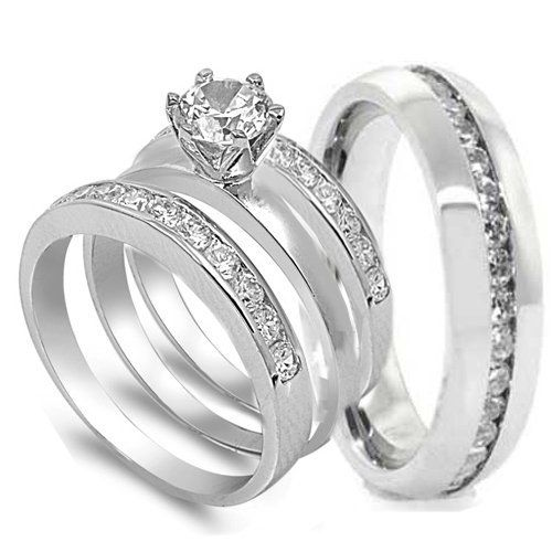 Ring 4 Pcs His And Hers STAINLESS STEEL Wedding Engagement Set Size Mens 11 Womens
