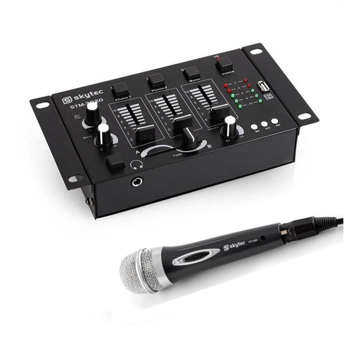 Skytec Mini Dj Set Mixer 2 3 Canaux Micro Dynamique Canaux Mini Et Usb