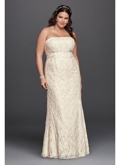 Lace Empire Waist Plus Size Wedding Dress 9S8551 | Tulle and Lace ...