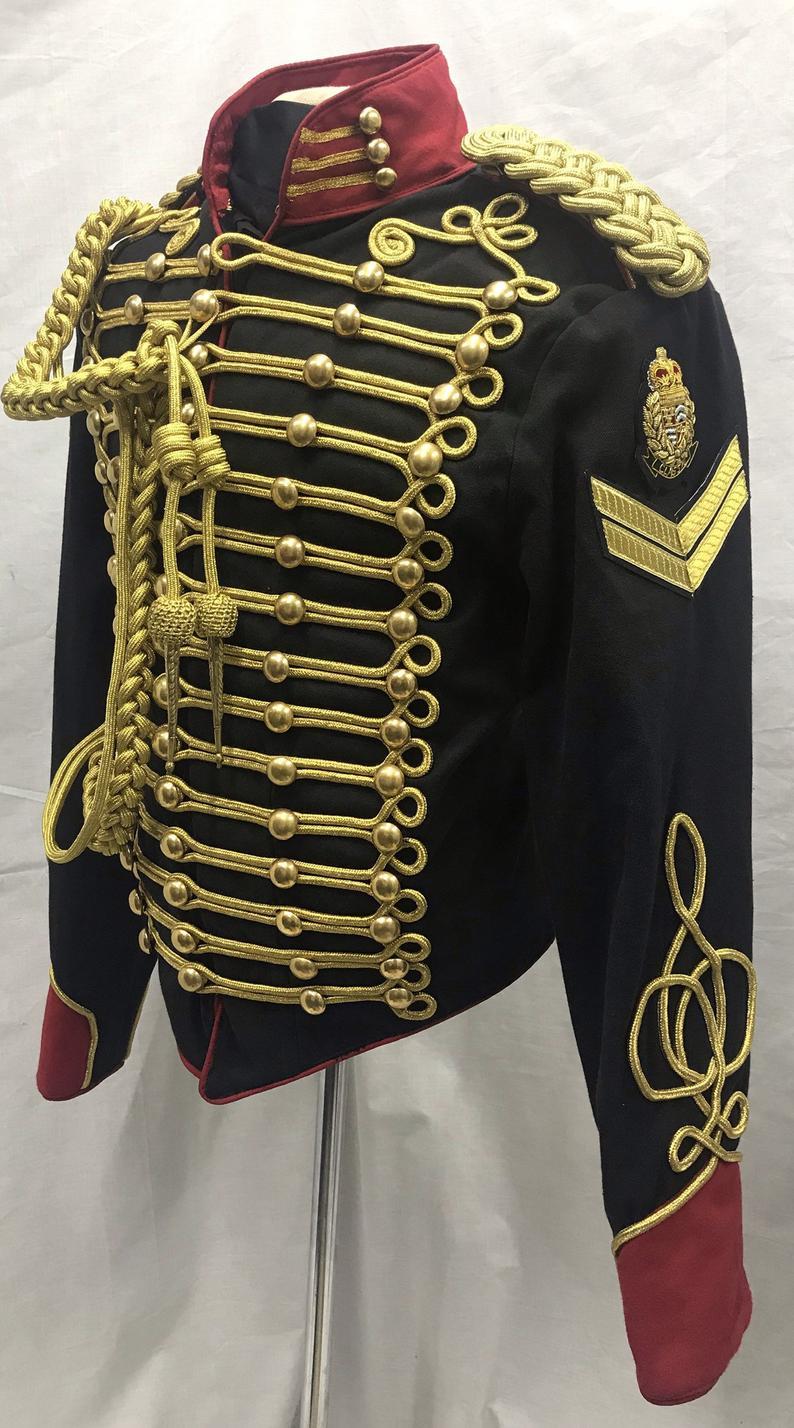 Mens black hussar jacket front gold braid,Mens hussar jacket
