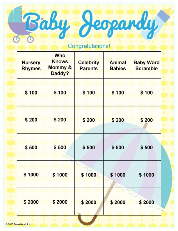 Baby Shower Jeopardy Questions  Baby Shower    Babies