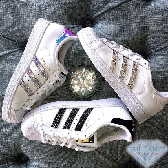 finest selection 11b7b fa7a8 Adidas Shoes - Swarovski Adidas Superstars White   Gold Metallic