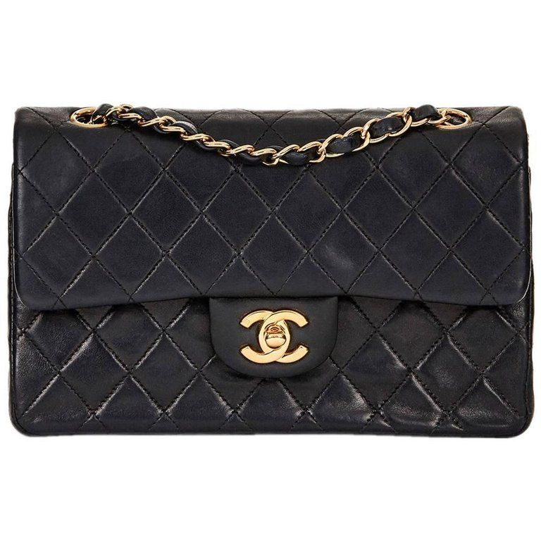 302641b1015d2b 2001 Chanel Black Quilted Lambskin Vintage Small Classic Double Flap Bag    1stdibs.com
