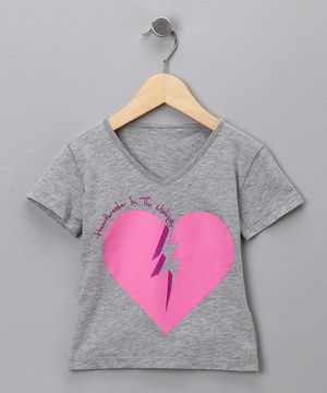 This Heather Gray 'Heartbreaker' V-Neck Tee - Toddler & Girls by LA Lounge is perfect! #zulilyfinds
