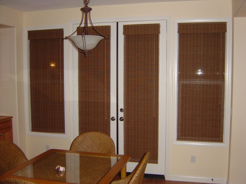 Grass Cloth Shades On French Doors In Nook Doors