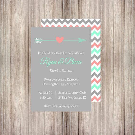 DIY Printable Vintage Arrows Wedding Reception Invitation With Chevron Back Digital File ONLY Fun