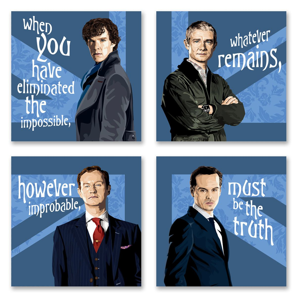 """Sherlock, Watson, Mycroft and Moriarty - Set of Four 6x6"""" Gallery Wraps. $44.99, via Etsy. I want these for my living room wall so bad! <3"""