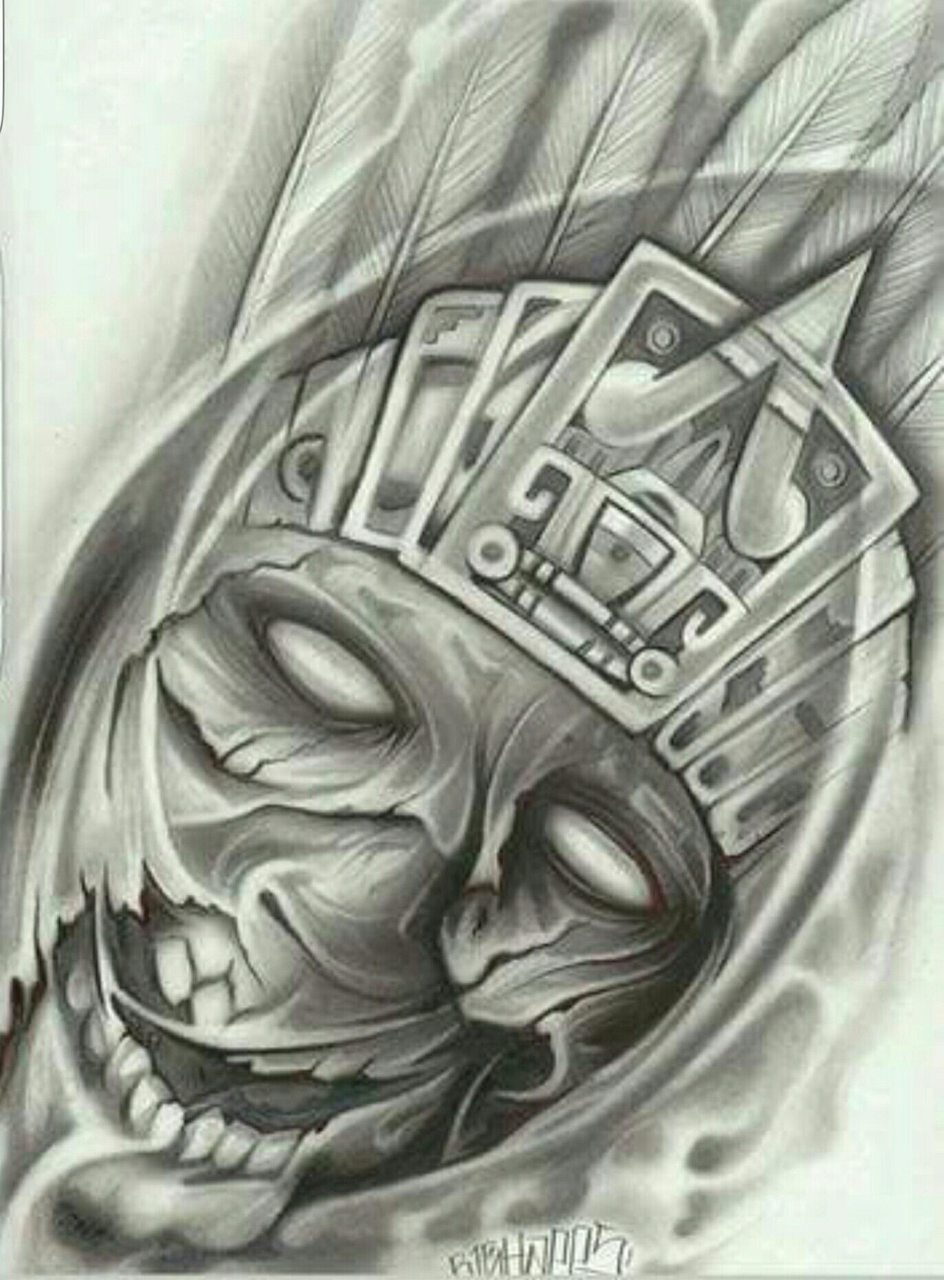 Prison Art Aztec/Mayan | Aztec culture | Chicano tattoos, Mexican ...