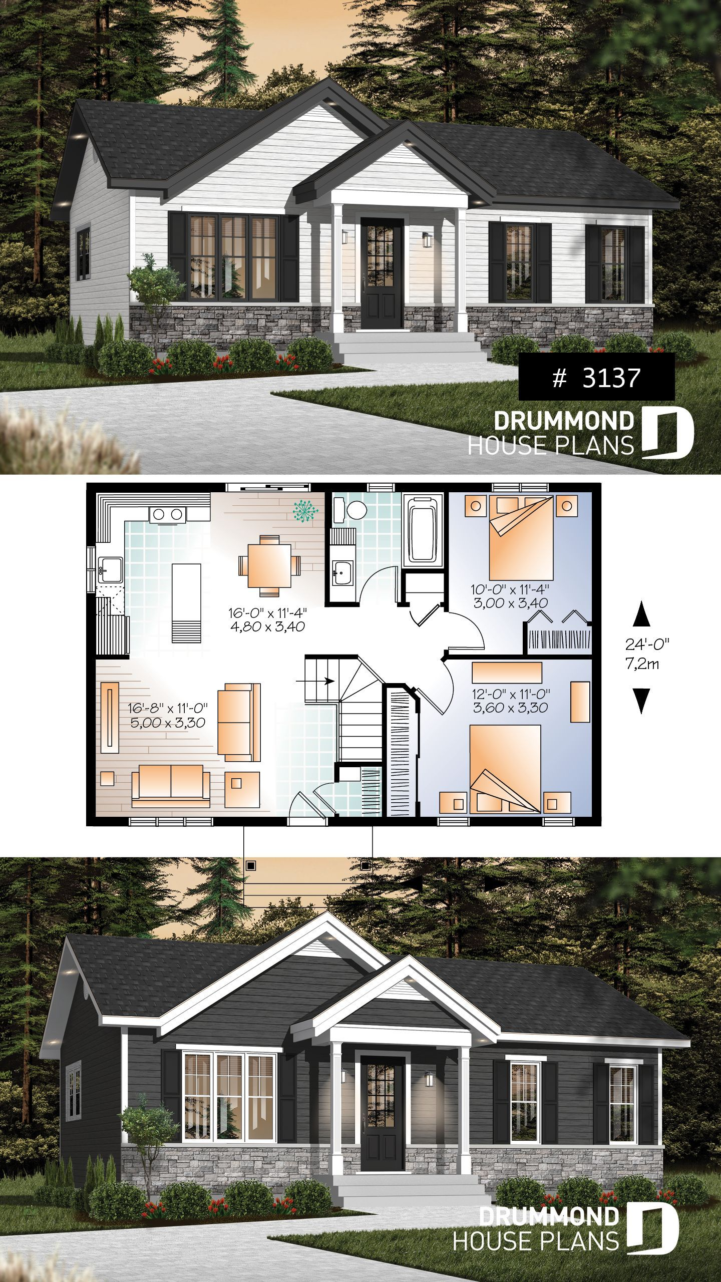 Affordable Bungalow Small Economical Modern Rustic Starter Home Design With Open Flo Small House Design Exterior Small House Design Plans Small House Design