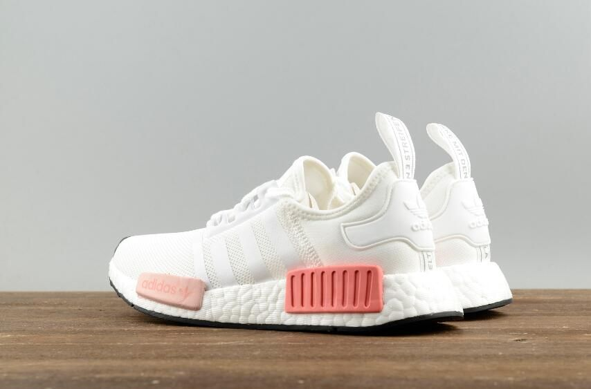0e0b4174b5e5e Adidas Original NMD R1 W BY9952 White Pink Real Boost Lady Sneakers Free  DHL Shipping for Online Sale  36-39