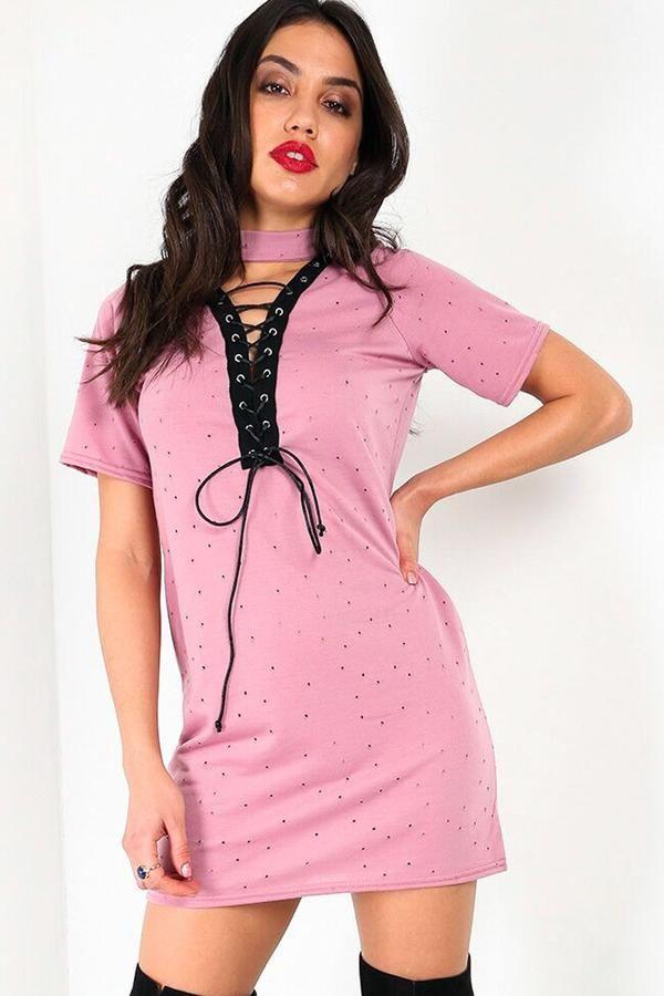 26772a17e66 Raine Choker Neck Lace Up TShirt Dress