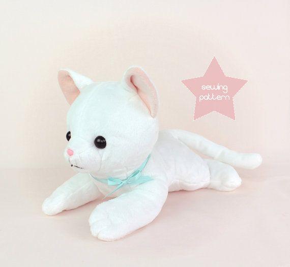 Plushie sewing pattern PDF - Newborn Cat laying stuffed animal DIY ...