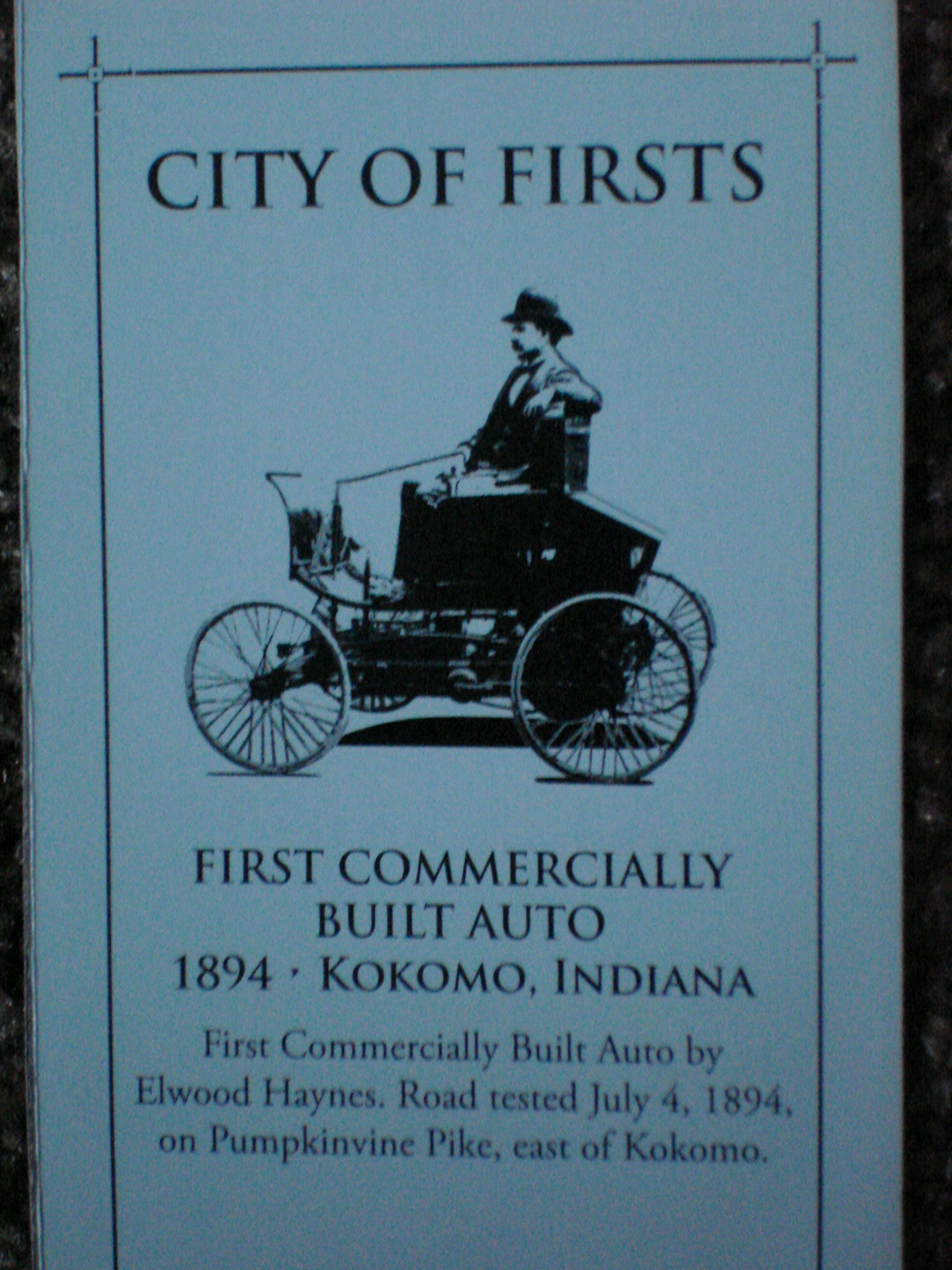 Kokomo First Commercially Built Automobile Elwood Haynes