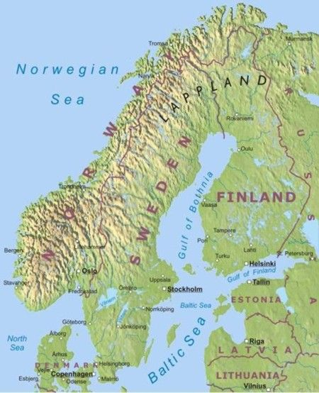 Physical map of Scandinavian countries Denmark Sweden Norway